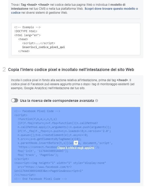 copia e incolla il codice pixel